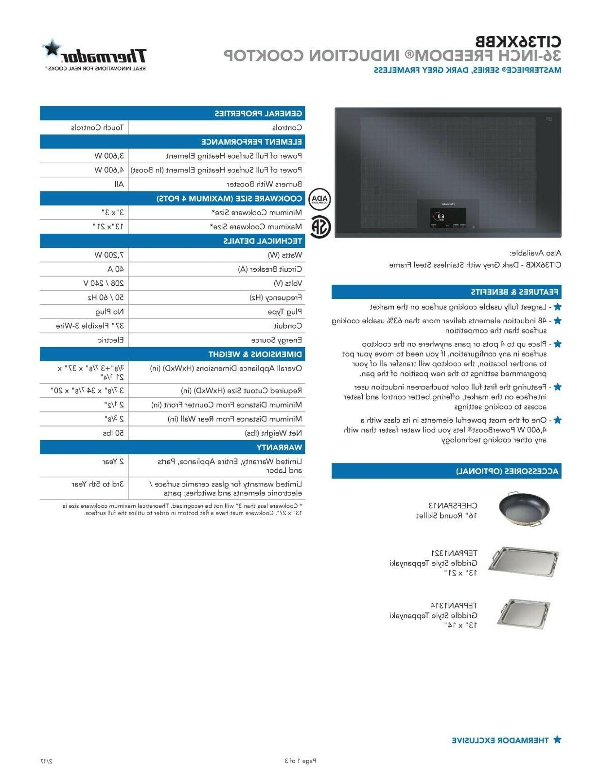 """Thermador 36"""" Freedom Induction Cooktop"""